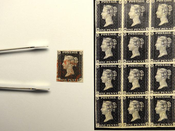 Лист британских почтовых марок, 1840 год.