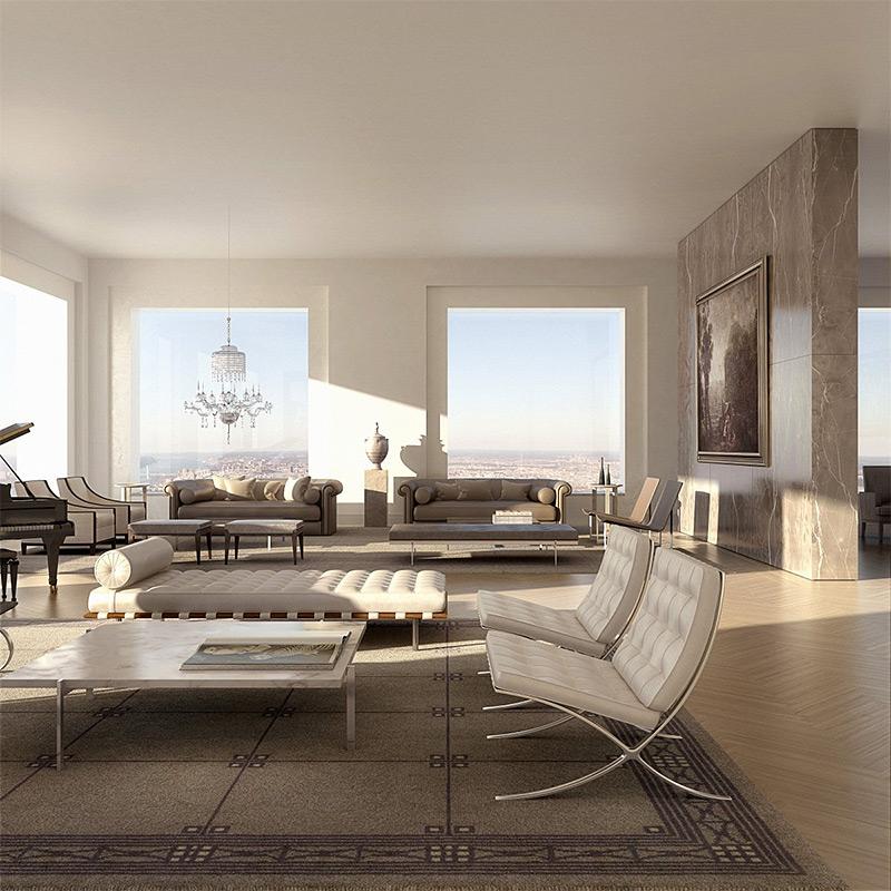 Ключевой особенностью архитектуры комплекса являются огромные окна и высота потолков.