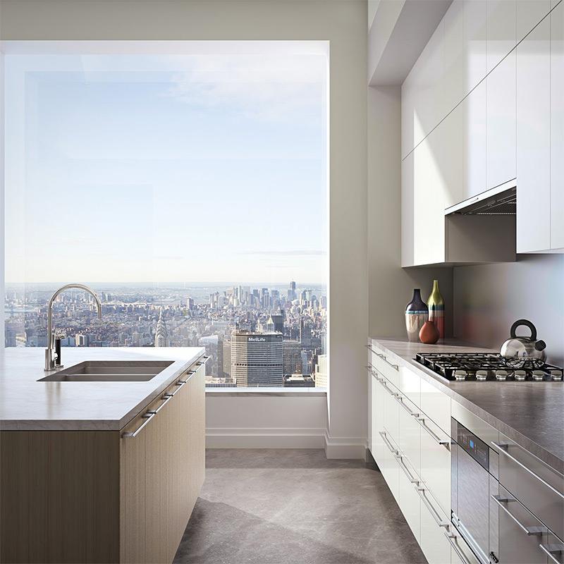 По словам создателей, хозяевам квартиры должно понравиться завтракать с видом на город. Специально для этого, на кухне напротив окна спроектирована трехметровая барная стойка  из натурального мрамора.
