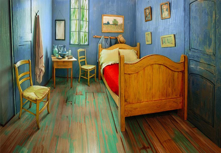 Спальня в стиле Ван Гога в точности повторяет знаменитую картину «Спальня в Арле», написанную в 1888 году.