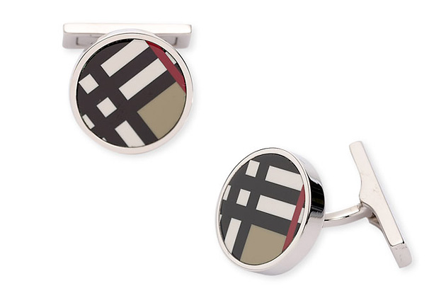 запонки, Burberry, Burberry Exploded Check Cuff Links