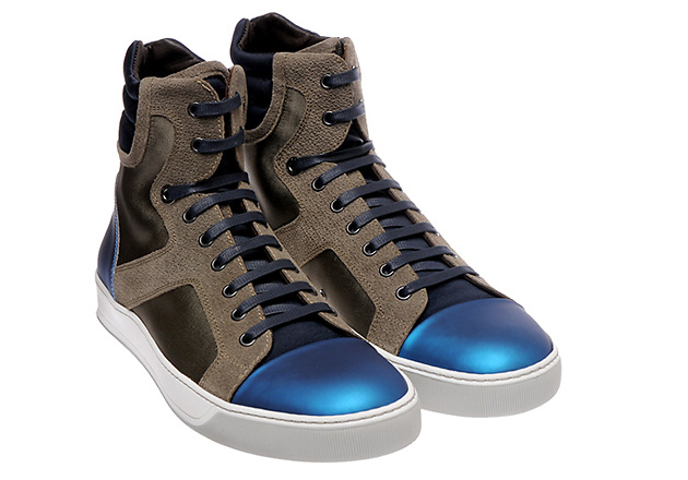 обувь, кроссовки, Lanvin, Lanvin Metallic Blue High Tops