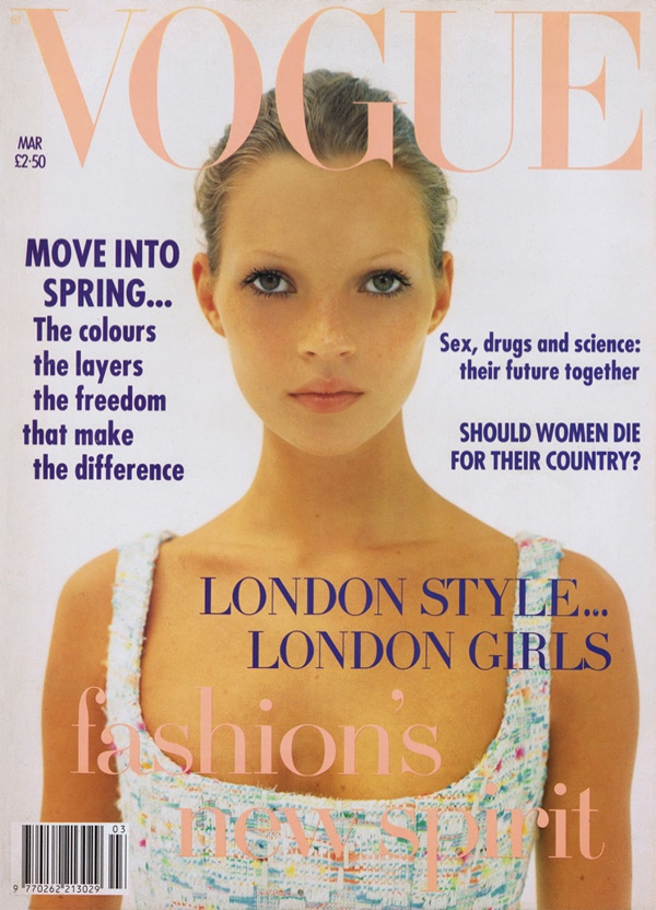 """<p style=""""text-align: center;"""">Знаменитая обложкаVogue UK, журнал вышел в марте 1993 года. Юную и еще никому не известную Кейт снимал талантливый фотографКорин Дэй.</p>"""