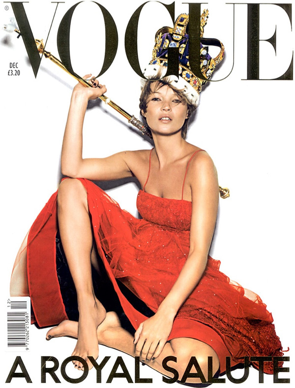 """<p style=""""text-align: center;"""">Ник Найт создал эту обложку декабрьского номераVogue UK, вышедшего в 2001 году. Приглашенная звезда — Кейт Мосс.</p>"""