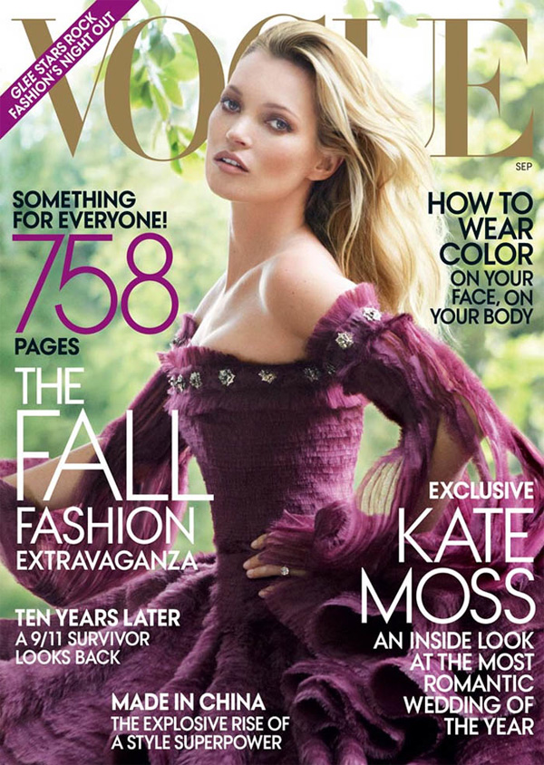 "<p style=""text-align: center;"">Кейт Мосс на обложке Vogue US, вышедшего в сентябре 2011 года. Фотограф — Марио Тестино.</p>"